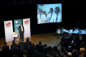 Bill Gates speaks address audience in Deptford