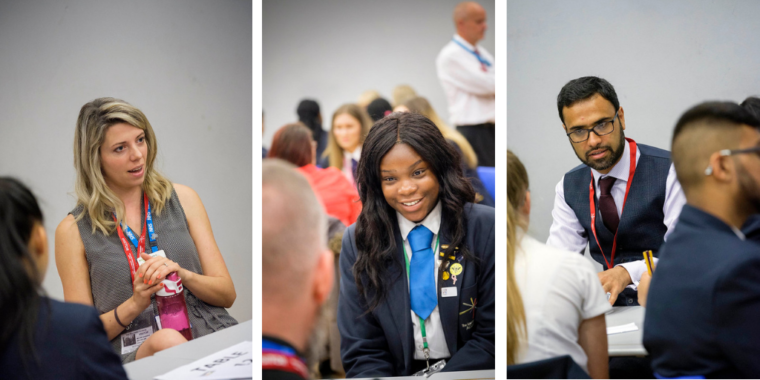 Three images side by side: A woman wearing an NHS lanyard, talking to students out of sight; a student smiling at a volunteer; a male volunteer talking to students at a table in a large hall.
